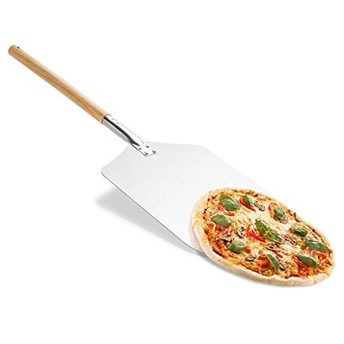 Original Pizza Pelle en métal rectangulaire 80x 31cm–Pelle à Pizza pour four à pizza avec long manche en bois de; Pelle à Pizza également comme Four Pelle et pelle