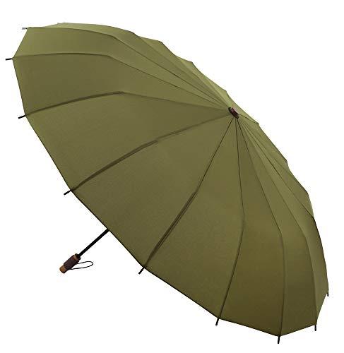 Vogue Supermini Regenschirm 16Stück Design inspiriert von den traditionellen japanischen Sonnenschirmen. Anti-Vibration und Teflon-Finish. Grün olivgrün
