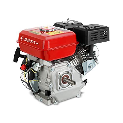 EBERTH 6,5 PS 4,8 kW Benzinmotor Standmotor Kartmotor Antriebsmotor Austauschmotor (20 mm Ø Welle, Ölmangelsicherung, 1 Zylinder Benzinmotor, 4-Takt, luftgekühlt, Seilzugstart)