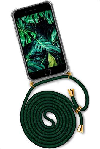 ONEFLOW Twist Hülle kompatibel mit iPhone SE (2020) - Handykette, Handyhülle mit Band zum Umhängen, Hülle mit Kette abnehmbar, Grün