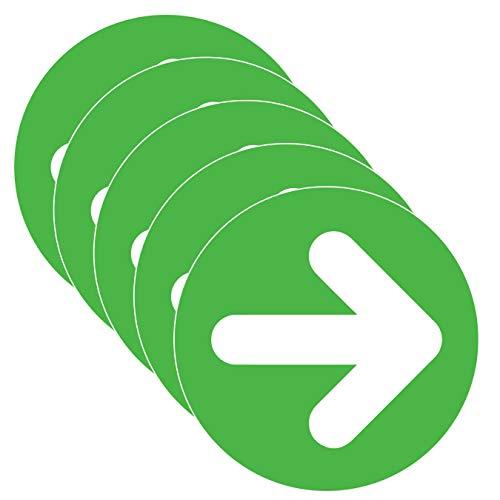 Pfeil-Aufkleber Covid-19 Social Distancing Directional Bodenaufkleber (Größe 22,9 cm) Grün Weiß (5 Stück)