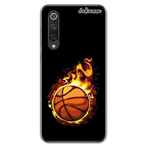 dakanna Funda Compatible con [Xiaomi Mi 9 SE] de Silicona Flexible, Dibujo Diseño [Balón de Baloncesto en Llamas], Color [Borde Transparente] Carcasa Case Cover de Gel TPU para Smartphone