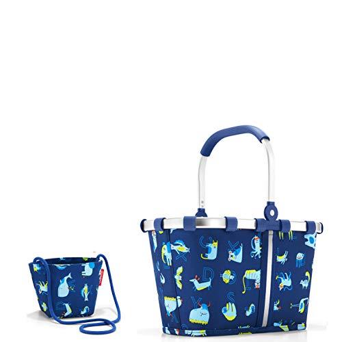 Reisenthel - Juego de 2 bolsas de la compra para niños, tamaño XS, cesta de la compra y bolsa pequeña, diseño de gatos y perros (ABC Friends Blue)