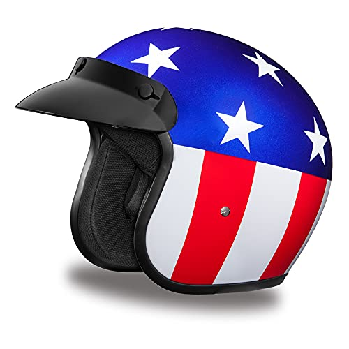 Daytona Helmets 3/4 Shell Open Face Motorcycle Helmet – DOT Approved [Captain America] [L]