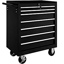 The tool cart has seven large and also lockable, ball-bearing drawers // Total dimensions (LxWxH): 69 x 33 x 79 cm // Weight: 23.5 kg. No matter where for a hobby or pro's workshop, you will benefit from the arrangement system. The lock prevents any ...