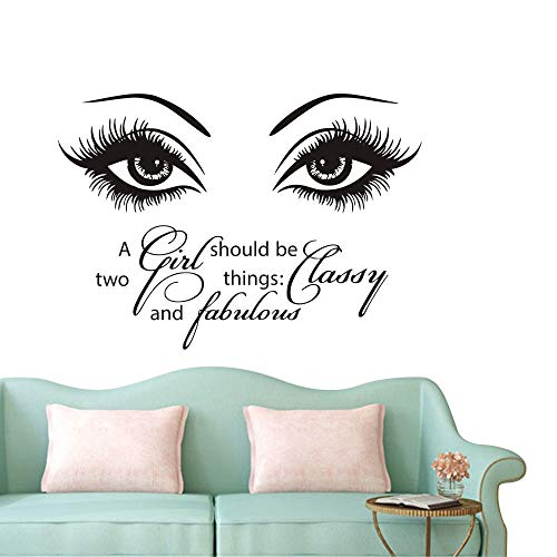 Eyes Wall Decals Beauty Salon Girl Eye Lash Quote A Girl Shoud Be Two Things Classy and Fabulous Art Vinyl Bedroom Decoration Make Up Vinyl Stickers NY-380 (57X80CM, Black)