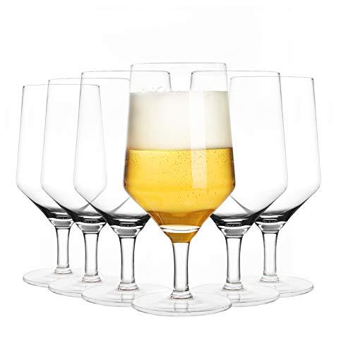 Joeyan Biergläser mit stiel 6er Set - 380ml Biertulpen für Bier, Cocktail, Saft, Wasser