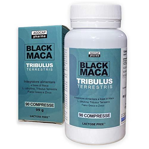 Maca Nera Peruviana e Tribulus Terrestris | 90 compresse, 1200 mg Maca Negra e 300 mg Tribulus Terrestris per dose giornaliera, con Citrullina Malato, Fieno Greco e Zinco |Potenza ed energia, Agocap