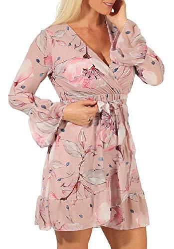Malito Damen Sommerkleid   Elegantes Kleid mit Blumenmuster   schickes Freizeitkleid   Strandkleid 19092 (rosa, L)