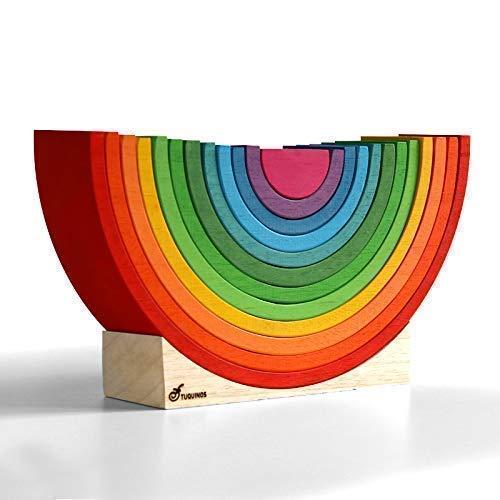 Arcoiris de madera Waldorf de 12 arcos CON PEANA. Juguetes Educativos. Aprendizaje para niños.