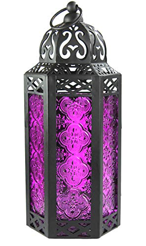 Purple Glass Moroccan Style Candle Lantern - Great for Patio, Indoors/Outdoors, Events, Parties and Weddings