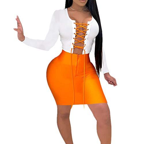 N\P Vestido de mujer de media cintura color sólido con cremallera