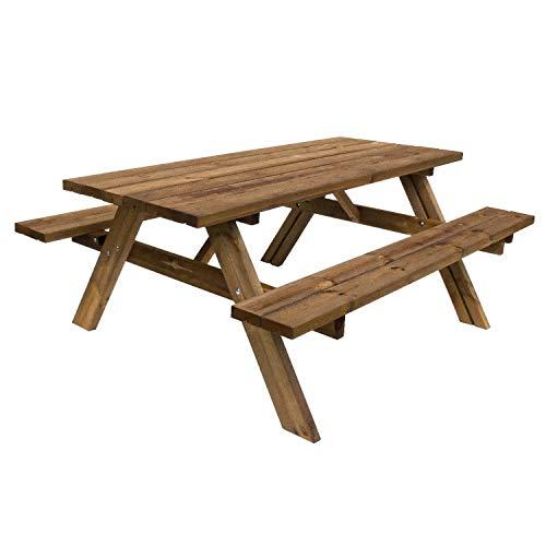 Oasi picnic - tavolo da giardino in legno impregnato con panche incorporate tavolo da picnic 6 posti made in italy
