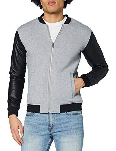 Urban Classics Herren Zipped Leather Imitation Sleeve Jacket Jacke, Mehrfarbig (Gry/blk 119), Medium