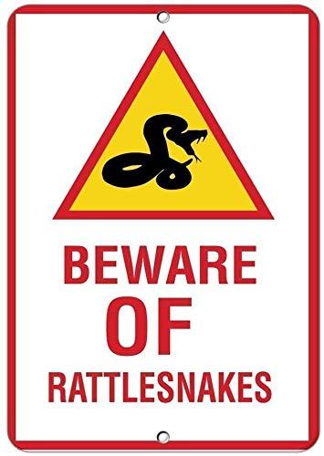 Beware of Rattlesnakes Blechschild Retro Warnschild Vintage Metall Poster Plakette Eisen Malerei Kunst Dekor für Home Cafe Garden Pub Büro 30x20 cm