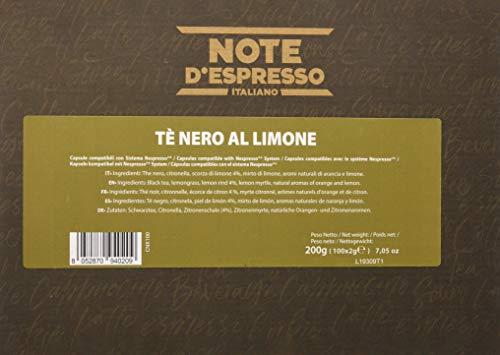 Note D'Espresso - Cápsulas de té negro al limón, 2g (caja de 100 unidades) Exclusivamente Compatible con cafeteras Nespresso*