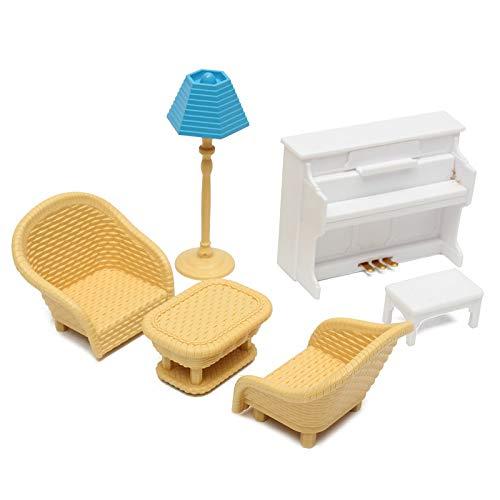 Sungpunet Dollhouse Muebles en Miniatura del sofá Tabla Piano Juguetes Sistemas Sylvania Accesorios Familiar para Regalo de los niños