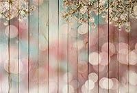 Qinunipoto 背景布 写真撮影用 背景 布 撮影 写真の背景 きのいた 木の板の背景 木の板 桜 彩色図 光の斑 子供の写真 ポートレート写真の背景 写真館 写真スタジオ 撮影用道具 生放送 ポリエステル 洗濯可 1.8x1.2m