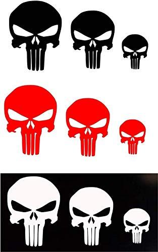 Delzam Punisher Skull Vinyl Decal Sticker White Black Color for Car Trucks Hyro Flask Bottles Window Bumper Laptop Wall Motorcycles Helmets Guns Sniper Marines Army Navy Military