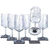 Silwy - Bicchieri magnetici in plastica ad alta tecnologia e nano-gel metallici, per campeggio, accessori per barche e yacht (0,2 l)