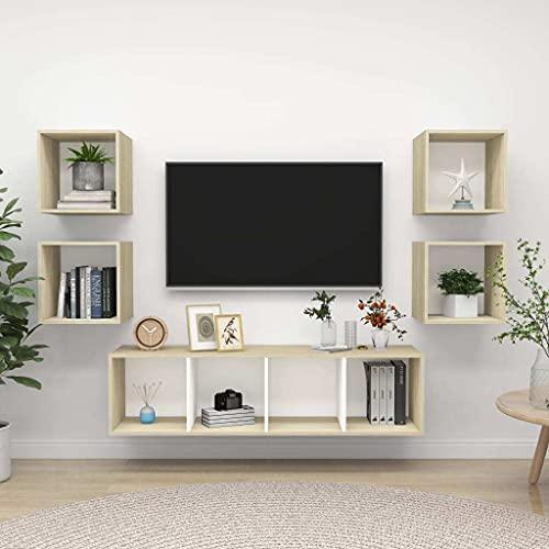 vidaXL Muebles de Pared de TV 5 Piezas Soporte Mobiliario Aparador Estante...