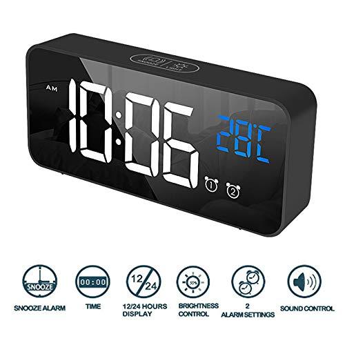 LED-display 2 Standen Wekker Snooze-functie Spraakmonitor Spiegel Achterlicht Oplaadbare Batterij 5V / 1A USB-voeding (Zwart)