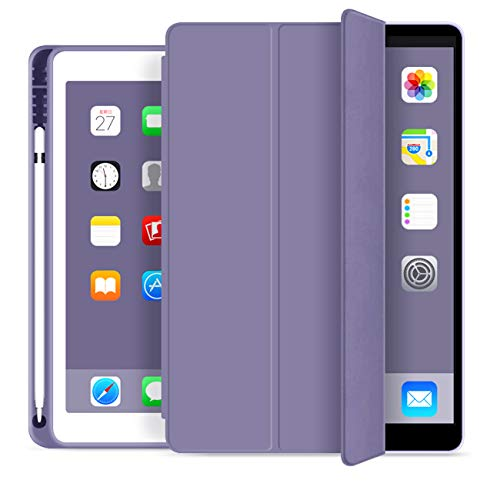 ZOYU iPad 9.7 Case 2018 iPad 6th Generation Cases / 2017 iPad 5th Generation Case with Pencil Holder Lightweight Soft TPU Back Cover Auto Sleep/Wake, iPad 5th/6th Generation case 9.7 inch - (Purple)