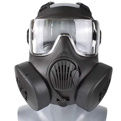 Wwman Máscara táctica/CS/Airsoft/Paintball Resistente al Desgaste para Uso en Exteriores Máscara Protectora TPR de Cara Completa con Lente Transparente, para Adultos, Adolescentes (Doble-BK-C)