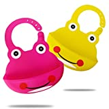 Set of 2 Cute Silicone Bibs for Babies & Toddlers- Easily Wipe Clean, Waterproof Bib Keeps Stains Off, Soft, Unisex – Yellow/Dark Purple Frog(6-72 Months)