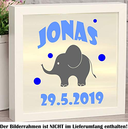 myrockshirt Lindo elefante nacimiento, niño personalizable, aprox. 20 cm, 3 colores, pegatinas para marcos de fotos, luces decorativas