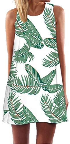 Ocean Plus Mujer Verano Flamenco Camisola Vestido De Playa Top Sin Mangas Trapecio O Corte En A Vestido Oeste (S (EU 34-36), Hojas Verdes sobre Blanco)