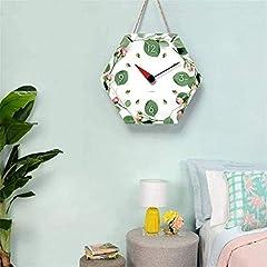TIANYOU Wall Clock Polygon Bracket Clock Lanyard Clock Acrylic Silent Wall Clock Living Room Bedrooms Kitchen Bracket Clock 14 Inches Small Wall Clock #4