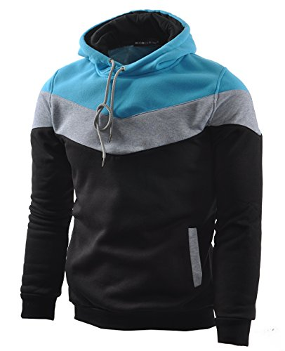 Mooncolour Mens Novelty Color Block Hoodies Cozy Sport Autumn Outwear, Black, US Small
