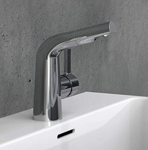 EISL NI075COCR COOL - Grifo de lavabo con ducha extraíble para lavar el pelo, grifo extensible para el baño con manguera, cromado