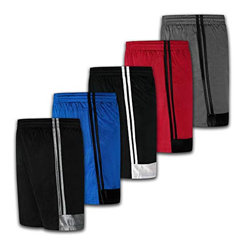 Men's Premium Active Athletic Performance Shorts with Pockets - 5 Pack