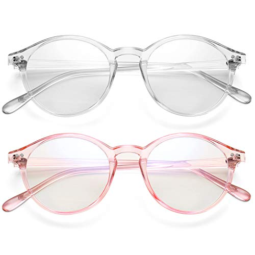 Paquete de 2 gafas de bloqueo de luz azul para mujeres y hombres Retro gafas redondas marco anti rayos azules gafas de juego de computadora (transparente + rosa transparente)