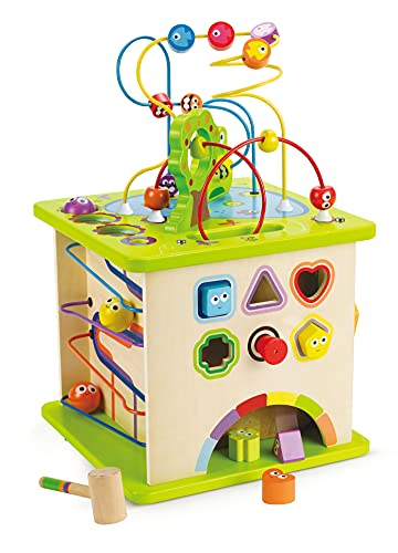 Country Critters Wooden Activity Play Cube by Hape | Wooden Learning Puzzle Toy for Toddlers, 5-Sided Activity Center with Animal Friends, Shapes, Mazes, Wooden Balls, Shape Sorter Blocks and More, 13.78 x 13.78 x 19.69 inches