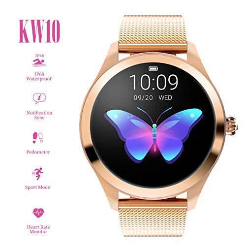 QL Smart Watch KW10, Runder Touchscreen IP68 wasserdichte Smartwatch für Frauen, Fitness Tracker mit Herzfrequenz- und Schlaf-Pedometer, Armband für IOS/Android
