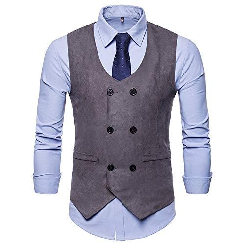 Heren pak Vest Suede dubbele borst Gilet mannen Waistcoat zakelijke bruiloft XXL