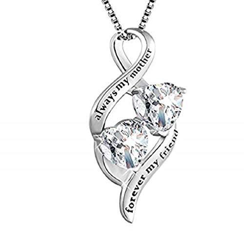 Collar con colgante de corazón con texto en inglés'Always My Daughter&Sister Forever My Friend', regalo para madre e hija
