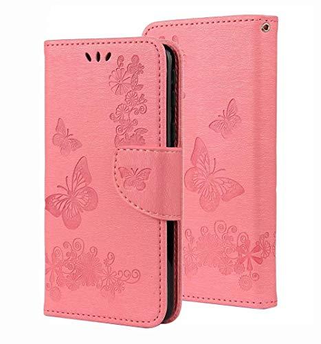 GOGME Hülle für Huawei Mate 40 Pro, W&erschönen Geprägt Schmetterling Muster Design Leder Brieftasche Flip Handyhülle Stoßfeste Schutzhülle mit Kartenhalter/Magnetknopf/Ständer, Rosa