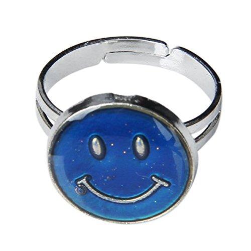 SODIAL (R) sonriendo cambio de color cara del anillo de humor sensacion banda variable ajustable en altura