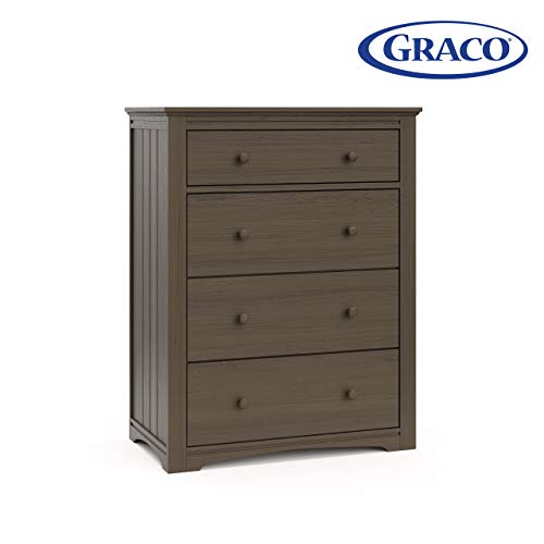 Best Prices! Graco Hadley 4 Drawer Dresser (Mocha - Slate Gray) – Easy New Assembly Process, Unive...