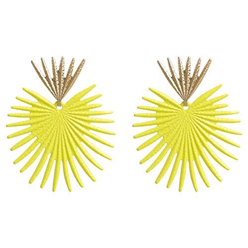 Allshiny Pendientes Pendientes de Textura de Metal de Temperamento de Oreja de Algas de Coral de Europa y los Estados Unidos aretes de Viento de Playa Fresca aretes de Viento de Mujer