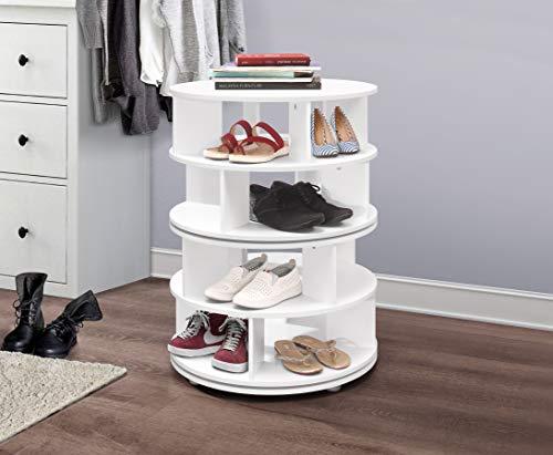 Kings Brand Furniture – 4-Tier Revolving Lazy Susan Shoe Rack Storage Organizer White