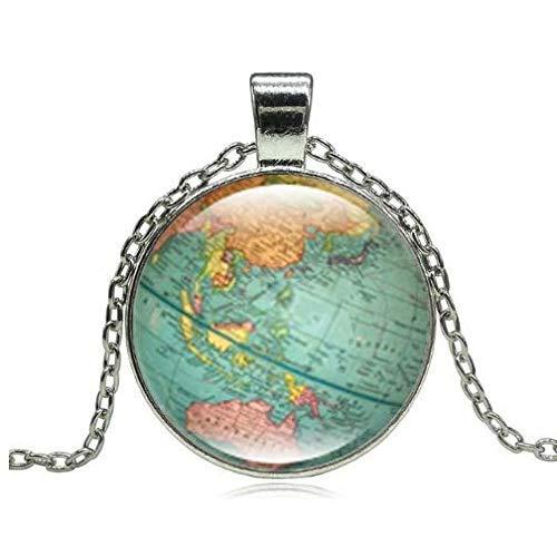 Vintage Wereldbol Kettingen & hangers, Planeet Aarde Wereldkaart Glas Hanger
