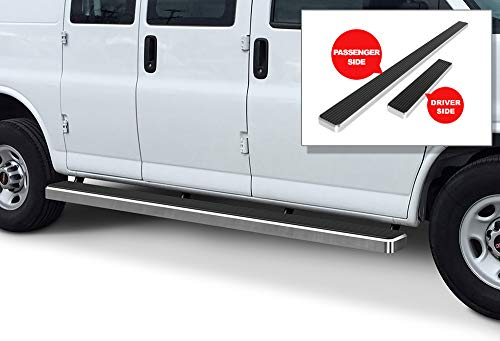 APS iBoard Running Boards 6 inches Silver Custom Fit 2003-2020 Chevy Express GMC Savana 1500 2500 3500 Full Size Van (Nerf Bars Side Steps Side Bars)
