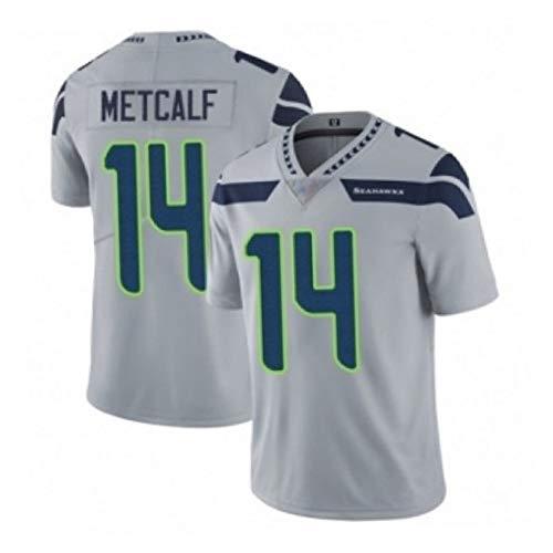 SFVE Seattle Seahawks D.K. Metcalf #14 Herren Rugby Trikot USA Fußball Sportswear Baumwolle Kurzarm Shirt Geeignet für Jungen und Mädchen Sportverein Gr. L, grau