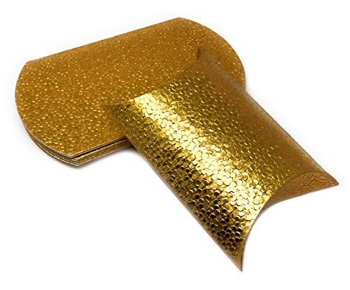 Pillowbox Kissen-Schachtel Faltschachtel, Geschenkbox aus Papier Geschenkschachtel mit erhabenem, Tropfen/Punkte Muster (10x Gold – 16 x 10,5cm)