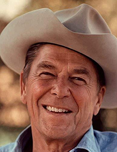 Digitally restored vector portrait of President Ronald Reagan wearing a cowboy hat Poster Print by John ParrotStocktrek Images (11 x 17)